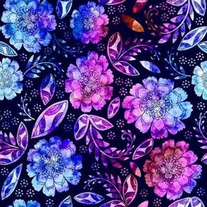 Fantasy Floral, napkin size, indigo
