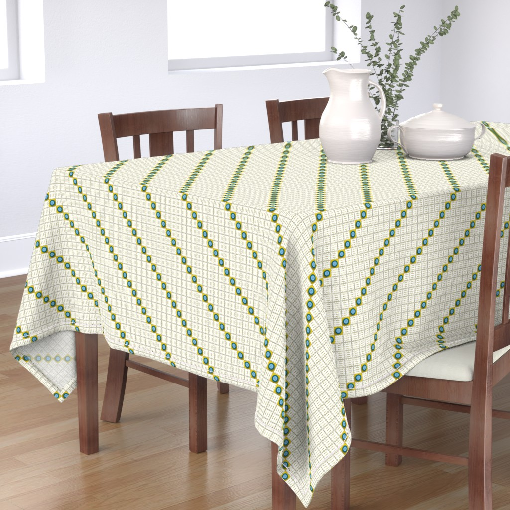 Bantam Rectangular Tablecloth featuring Rulers & Buttons by jjtrends