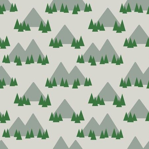 Mountains and Trees on Beige