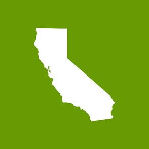 "California silhouette, 15x12"" in 18"" block, white on leaf green"