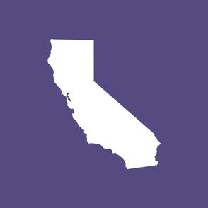 """California silhouette, 15x12"""" in 18"""" block, white on purple"""