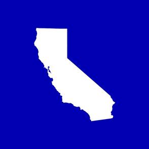 "California silhouette, 15x12"" in 18"" block, white on cobalt blue"
