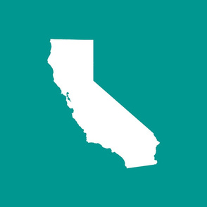 """California silhouette, 15x12"""" in 18"""" block, white on teal"""