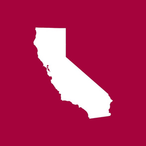 """California silhouette, 15x12"""" in 18"""" block, white on cranberry red"""