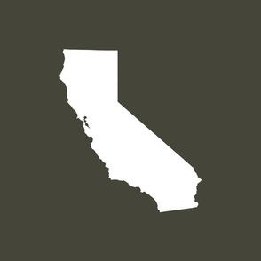"""California silhouette, 15x12"""" in 18"""" block, white on khaki"""