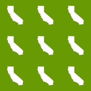 "California silhouette in 6"" block, white on leaf green"