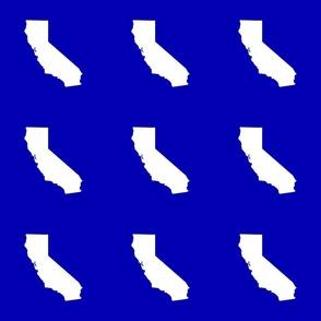 "California silhouette in 6"" block, white on cobalt blue"