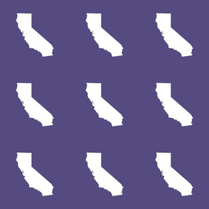 """California silhouette in 6"""" block, white on purple"""