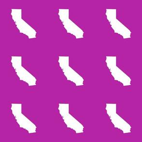 "California silhouette in 6"" block, white on bright orchid"
