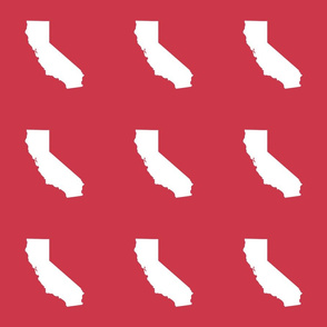 """California silhouette in 6"""" block, white on red"""
