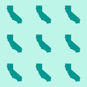 "California silhouette in 6"" block, teal on aqua"