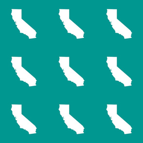 """California silhouette in 6"""" block, white on teal"""