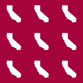 """California silhouette in 6"""" block, white on cranberry red"""