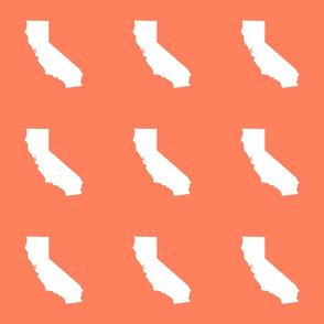 "California silhouette in 6"" block, white on coral"