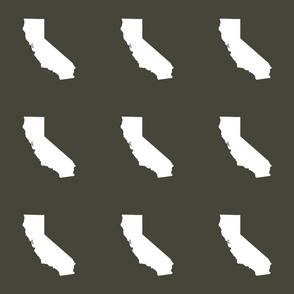 """California silhouette in 6"""" block, white on khaki"""