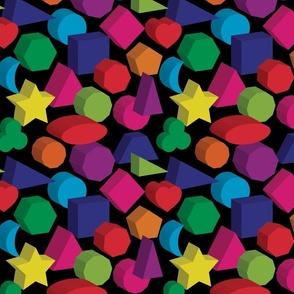 Kids Colors Geometric on Black (Medium Scale)