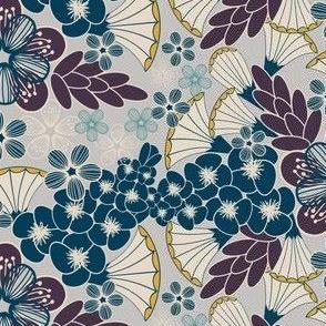 Art Deco Floral, Plum, Indigo, Khaki