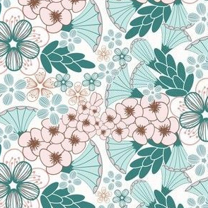 Easter Floral in Teal and Pink