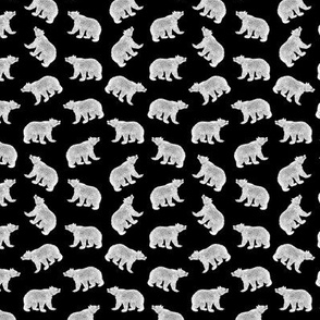 Illustrated Antique Bears in White with a Black Background (Mini Scale)