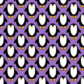 Cute Penguin repeat on purple