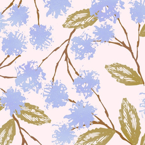 Cardboard printing floral blue and green