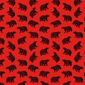 Illustrated Antique Bears in Black with a Red Background (Mini Scale)