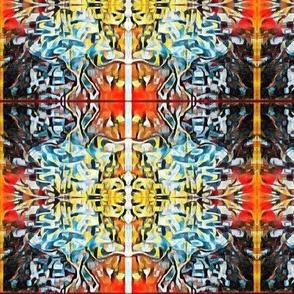 Orange & Blue Kaleidoscope Plaid