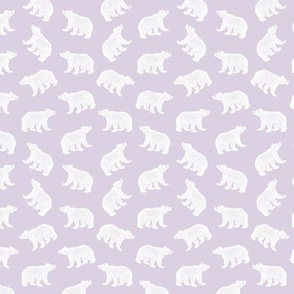 Illustrated Antique Bears in White with a Soft Purple Background (Mini Scale)