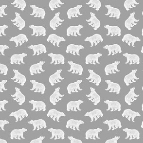 Illustrated Antique Bears in White with a Gray Background (Mini Scale)