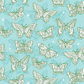 Flutterbyes* (Polymer) ||  butterflies stars handdrawn illustration moths pastel mint insects