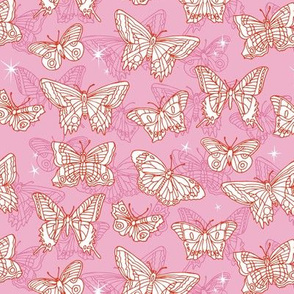 Flutterbyes* (Pink Cow) ||  butterflies stars handdrawn illustration moths pastel insects
