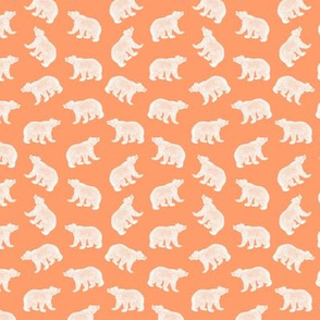 Illustrated Antique Bears in White with an Orange Background (Mini Scale)