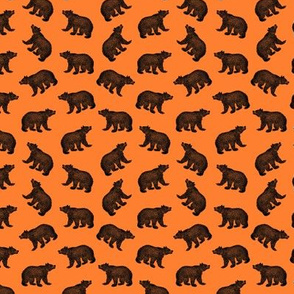 Illustrated Antique Bears in Black with an Orange Background (Mini Scale)