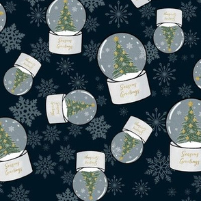 Snow globes in navy