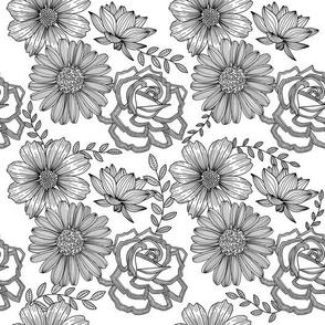 Flowers Line Art - Black & White