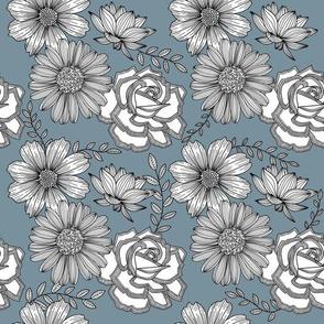 Flowers Line Art - Gray Blue