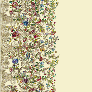 Embroidered Rococo Mantua Skirt Floral Fabric - 2 yds repeat