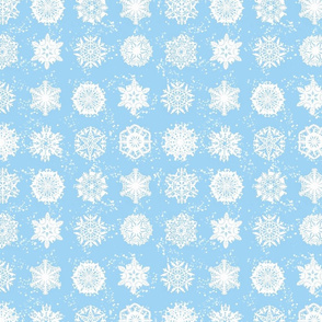Twelve Days of Christmas Snowflakes Blue