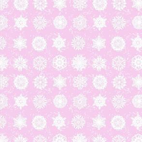 Twelve Days of Christmas Snowflakes Pink
