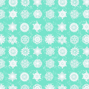 Twelve Days of Christmas Snowflakes Turquoise