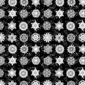 Twelve Days of Christmas Snowflakes Black