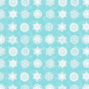Twelve Days of Christmas Snowflakes Aqua