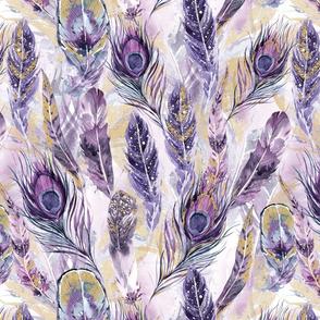 Purple Watercolor Feathers