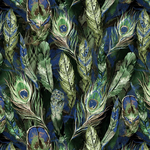 Watercolor Feathers in Blue | Green