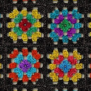 Granny Square Retro Crochet Afghan Blanket