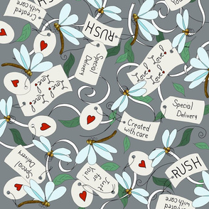 Dragonfly Hearts Package Labels Grey