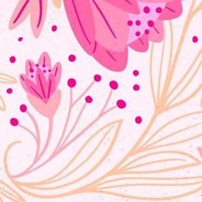 Tossed Pink swirling Valentine's Floral
