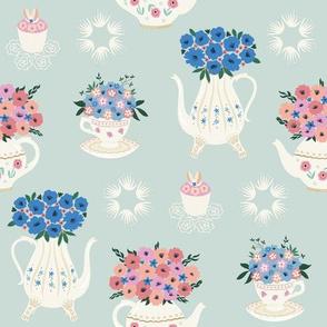 Teatime Floral - blue
