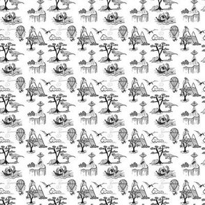 Toile Bad Day Pattern - Black_And_White_