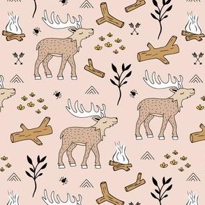Wild Moose scandinavian camping trip in the woods cute deer neutral kids beige brown earthy